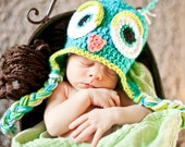 Crochet Earflap Owl Hat Photo Prop Newborn - 24 Months Sizes Available Teal Green MADE TO ORDER
