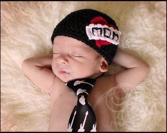 Crochet Newborn Hat I Love Mom Black Beanie Rocker Punk Photo Prop MADE TO ORDER