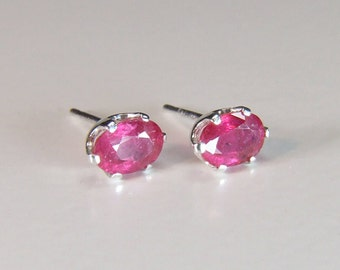 Ruby (Natural Ruby), 6mm x 4mm x 0.75 Carat, Oval Cut, Sterling Silver Post Earrings