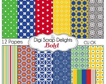 Bold Primary ColorsScrapbook Paper in Red, Yellow Blue, Green, Yellow for Digital Scrapbooking, Card Making, Crafts, Instant Download