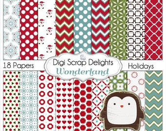 Christmas Papers Digital Scrapbooking Paper Snowman Wonderland  Chevron, Quatrefoil Red, Green with Penguin, Instant Download