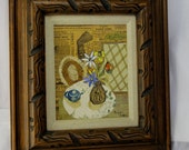 Marjorie Fisher Mixed Media Painting on Art Board in Carved Wood Frame