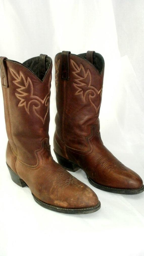 s dingo leather cowboy boots brown by griffincat