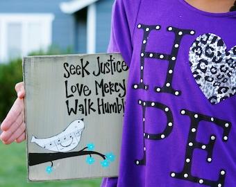 seek justic love mercy walk humbly handmade card/sign