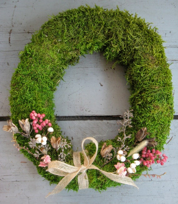Fairy Moss Wreath - poppy pods, pink larkspur, seeded eucalyptus, birch twigs, burlap bow, foraged seed pods, Easter, Mother's Day