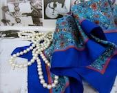 Vintage Scarf  Blue Turquoise Flower Paisley Design