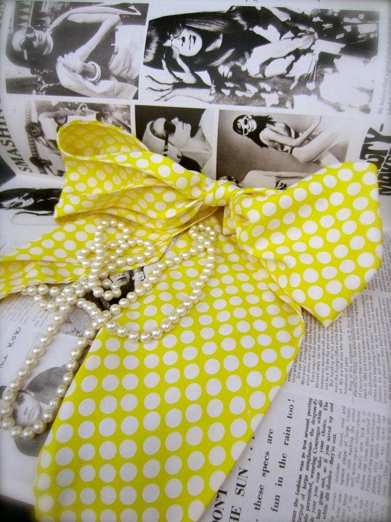 Vintage Bright Yellow Polkadot Scarf/Ascot Necktie