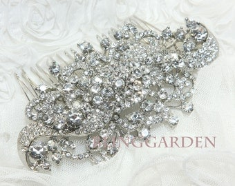 Bridal Hair Comb, Wedding Hair Comb, Vintage Style Hair Comb, Rhinestone Crystals Hair Comb, Large Hair Comb, Large Hair Accessory,Hairpiece