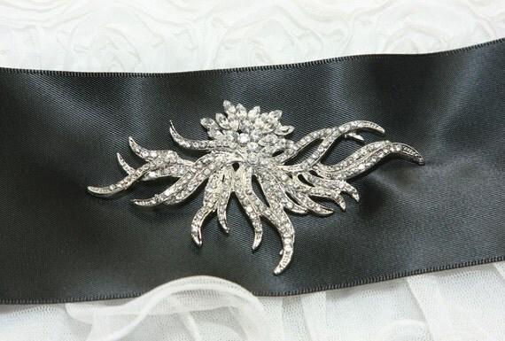 Water Wave Flower Plant Marquise Crystal Rhinestone Wedding Bridal Dress Colour Satin Ribbon Belt / Hair Comb BRH00249