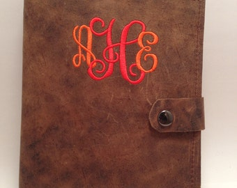 Custom Made Rustic 2 tone brown leather journal cover refillable monogramming  included snap closure