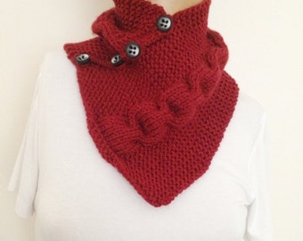 Burgundy neckwarmers with button,Chunky Scarf ,scarves,fall fashion,winter accessories,autumn,Knitting