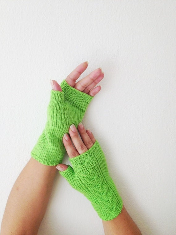 Neon green Wool Fingerless Gloves Armwarmers Hand Knit Chic Winter Accessories Winter Fashion,halloween,christmas