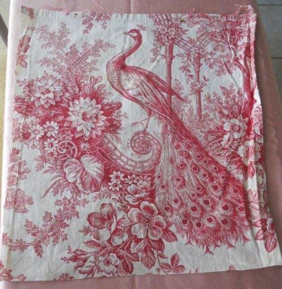 RESERVED FOR KATHRYN Antique French Fabric Linen Toile de Jouy Peacock Floral Decor Garden 19th-century