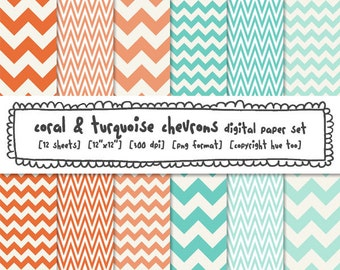 digital paper chevrons, coral peach orange, turquoise aqua blue, photography backgrounds, instant download png files - 388
