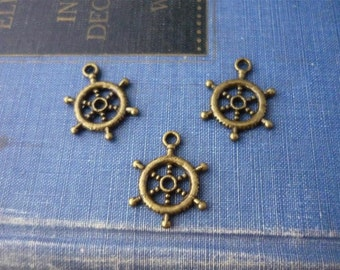 12 pcs Antique Bronze Nautical Rudder Wheel Charms 20mm (BC701)