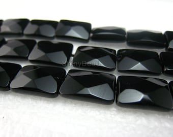 high quality Black Onyx faceted rectangle bead 14x10mm 15 inch strand