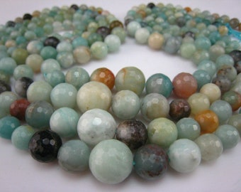 stone bead,Chinese amazonite,graduated faceted round 12-6mm,15 inch