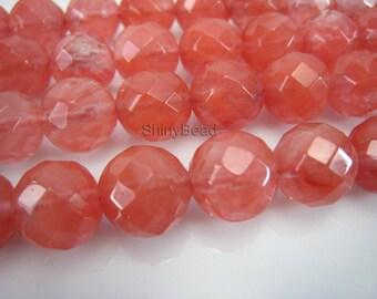 cherry quartz faceted round 12mm 15 inch strand