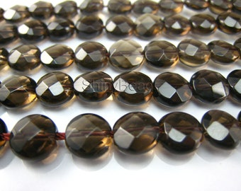 natural Smoky Quartz faceted coin 8mm 15 inch strand