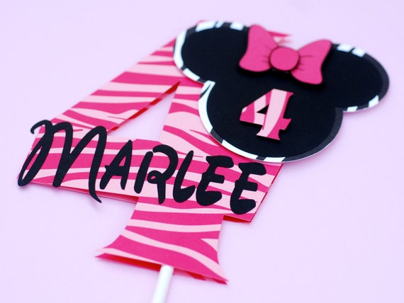 Customized Girly Mouse Cake Topper - Zebra Print Personalized with name and age