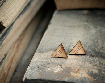 SOLD OUT - Triangle Stud Earrings - Natural Wood