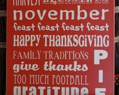 Thanksgiving Typography Sign-- 10x12 wooden vinyl sign, fall