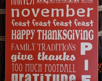 Thanksgiving Typography Sign-- 10x12 VINYL ONLY
