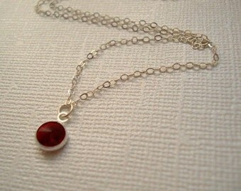 January Birthstone Necklace Pendant Necklace Sterling Silver Chain December Birthsone Ruby Crystal Swarovski Everyday Necklace Jewelry