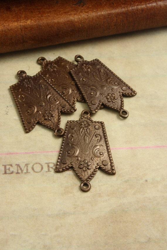 4 Ornate Drop Pendant Embellishments - Vintaj Natural Brass OS