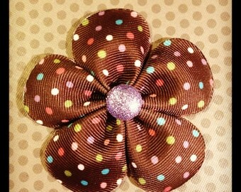 Brown and Polka Dot Flower Hairclip...Girls Hairbows...Baby/Infant Hairbows...Hairbows