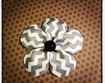 Gray Chevron Print Flower Hairclip...Girls Hairbows...Baby/Infant Hairbows...Hairclips