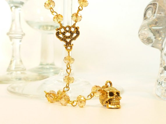 Sparkling Champagne Crystal and Gold Skull Extra Long Rosary Style Necklace