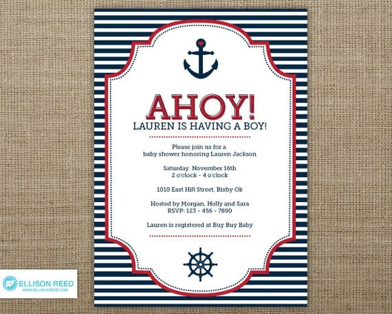 Items similar to Nautical Baby Shower invitation Nautical