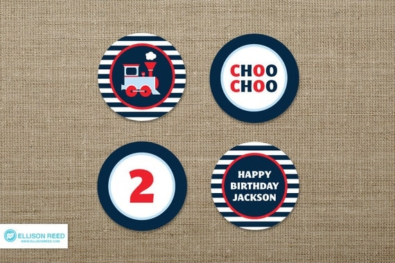 Train Printable - Train Birthday - Train Cupcake Toppers - decorations - choo choo - printable party - 2nd birthday - 1st birthday
