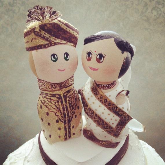 Custom Indian Bride and Groom Wedding Cake Topper - Custom made for your wedding
