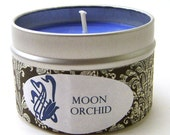 Soy Candle Tin, Moon Orchid, 4 oz - Musk, Patchouli, and Geranium Scented