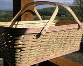 Basket, 1950s or earlier, Wood Framed, Woven, Painted Yellow and Pink with Stencil, Rattan,Swing Handle, Hardwood