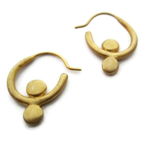 Small Gold Hoop Earrings,  Gold Huggie Earring, Vermeil Hoops, Artisan Handmade  by Sheri Beryl