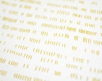 Verses in Mustard : organic cotton handprinted fabric panel
