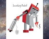 Smoking Robot Greeting Card