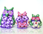 Owl Family Miniature, Purple and Red Flowers, Green Leaves,  Polymer Clay