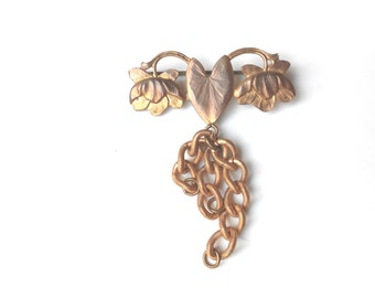 Antique Chatelaine Brooch, Art Nouveau Lily Pad, Embossed Gold Fob Chain, Antique Gold Brooch