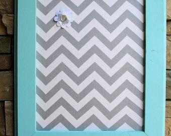 "18x22"" Aqua Frame with Fabric Cork Board"