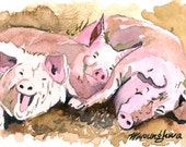 ACEO Limited Edition 7/25-Happy pigs, Animal art print of an original watercolor painting by Anna Lee, Gift idea for animal lovers, Cute pig