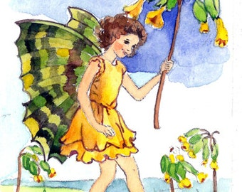 ACEO Limited Edition 1/25- The Cowslip Fairy inspired by CM Barker, in watercolor