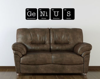 GENIUS Sign Wall Art Vinyl Decal Periodic Table Funny Elements Chemistry