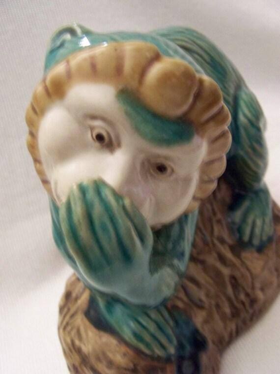 Green Majolica Monkey Speak No Evil Monkey
