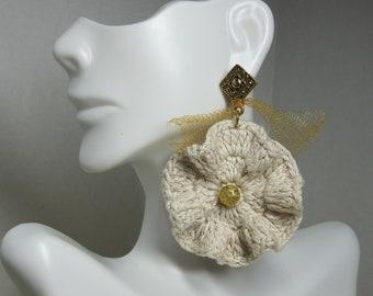 Natural Tan Crochet Earrings