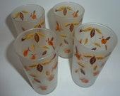 vintage jewel tea set of 4 frosted glasses REDUCED PRICE