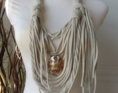 Scarf Necklace: Beige with Amber Copper and Silver Pendant